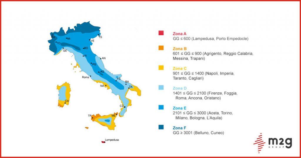 le sei aree climatiche in italia